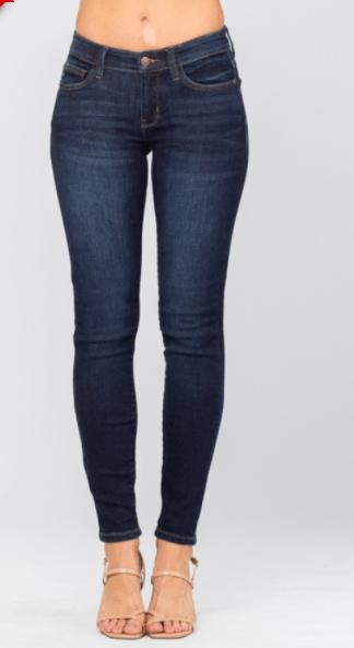 Judy Blue Skinny Mid-rise Dark Jeans - Feather & Quill Boutique