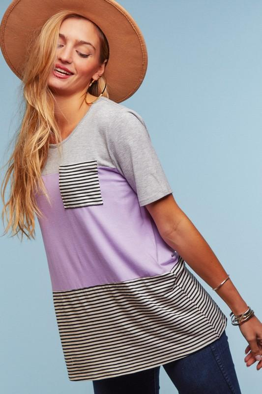 Lavender Color Block Stripe Shirt - Feather & Quill Boutique