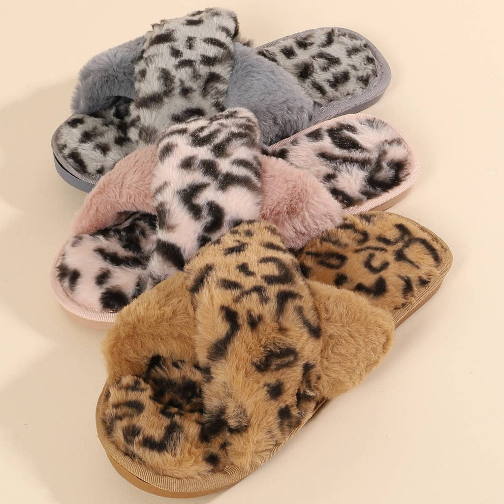 Preorder Leopard Fur Slippers - Feather & Quill Boutique