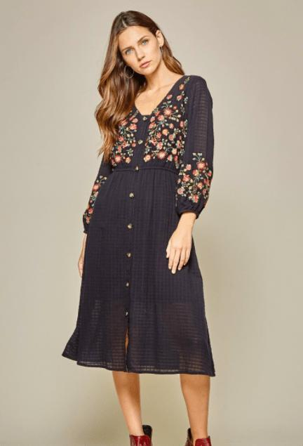 Long button down embroidered dress - Feather & Quill Boutique