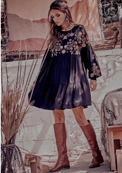 MIdi Balloon Sleeve Black Embroidered Dress - Feather & Quill Boutique
