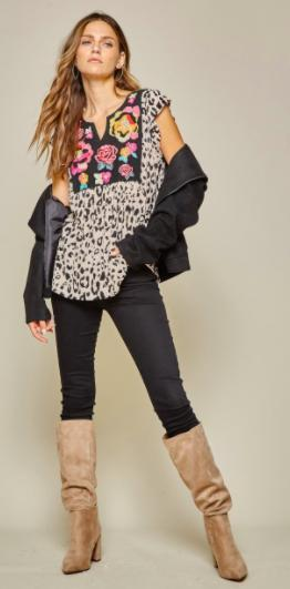 Mocha Leopard Embroidered Blouse-Feather & Quill Boutique