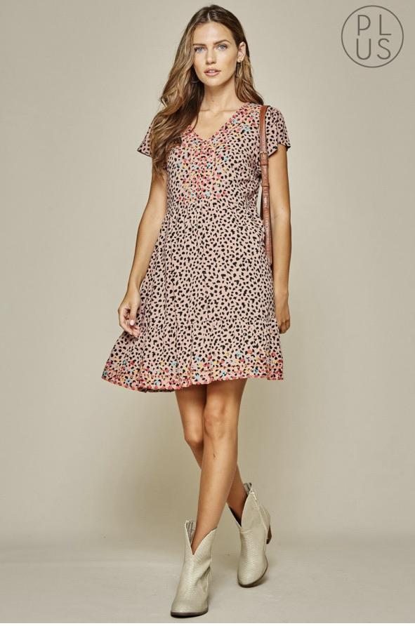 Mocha Leopard Embroidered Dress - Feather & Quill Boutique