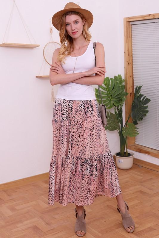 Peach coral tiered maxi skirt - Feather & Quill Boutique