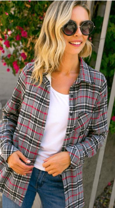 Plaid Flannel - Fleece Lined (preorder) - Feather & Quill Boutique