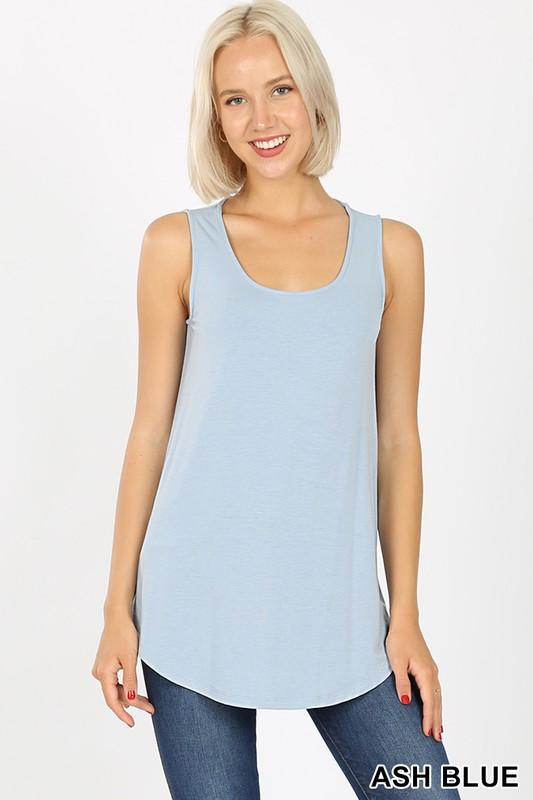 Plus Basic Casual Round Hem Tank Top - Multiple colors - Feather & Quill Boutique