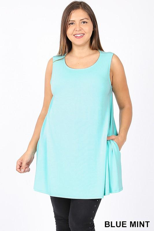 Plus Size flowy tank with pockets - Multiple colors-Feather & Quill Boutique