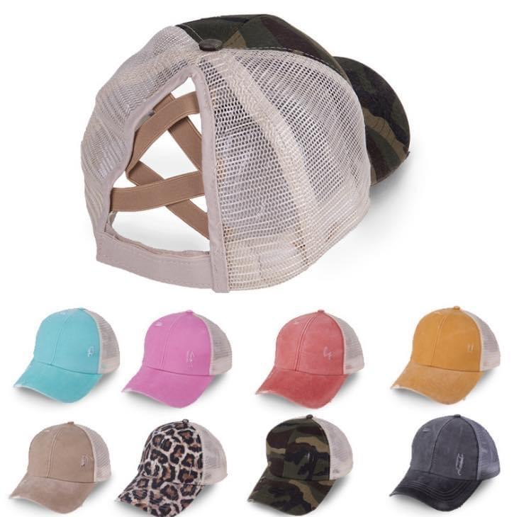 Ponytail Criss Cross hat - Feather & Quill Boutique