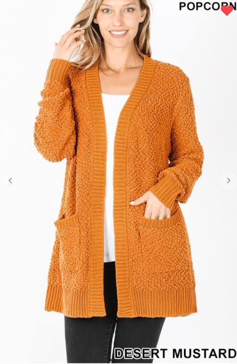 PUFF SLEEVE POPCORN CARDIGAN WITH POCKETS - Feather & Quill Boutique