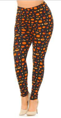 Pumpkin, Cauldrons and Candles Halloween Leggings - Feather & Quill Boutique