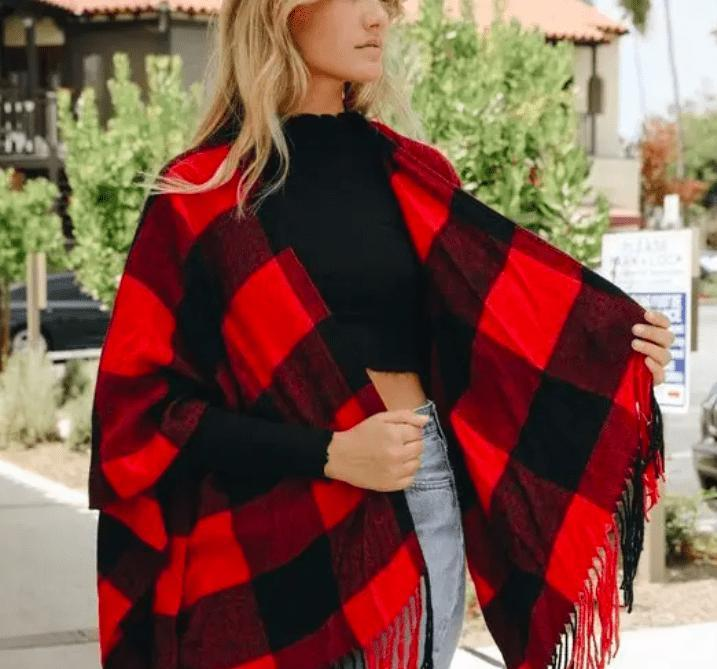 Red and Black Buffalo Plaid Ruana - Feather & Quill Boutique