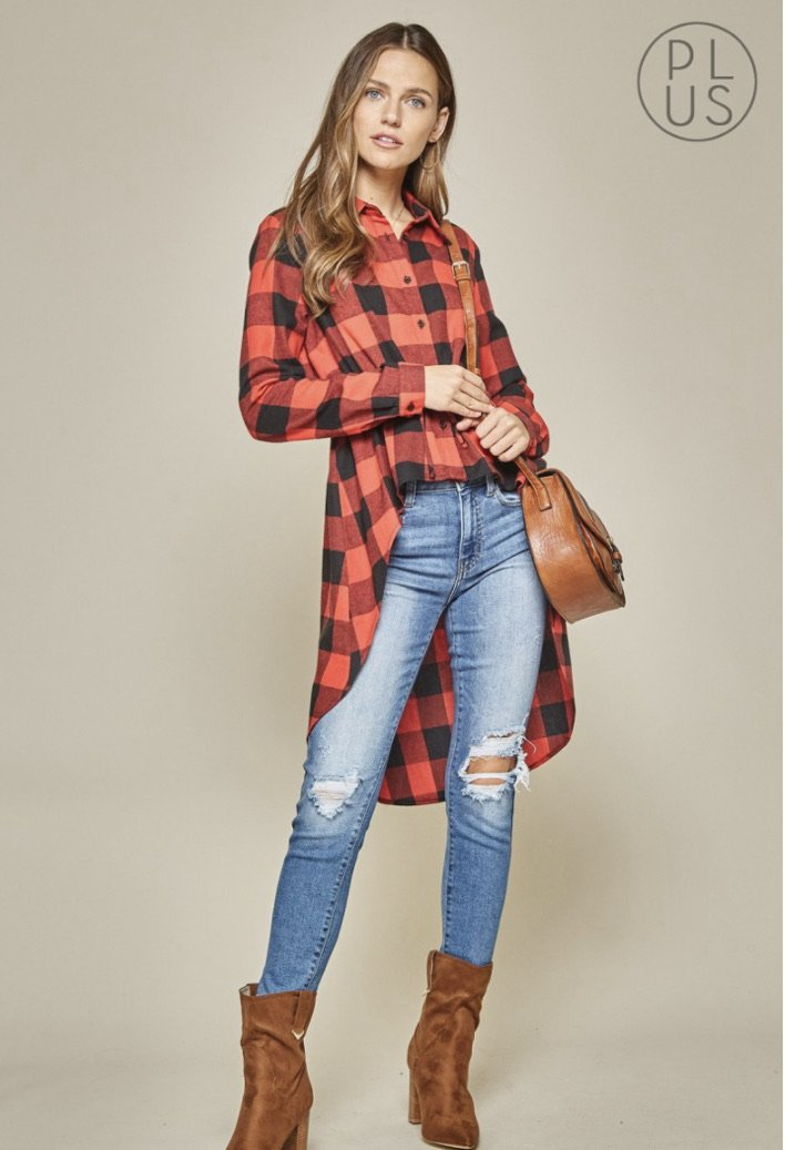 Red Buffalo Plaid High-Low Top - Feather & Quill Boutique