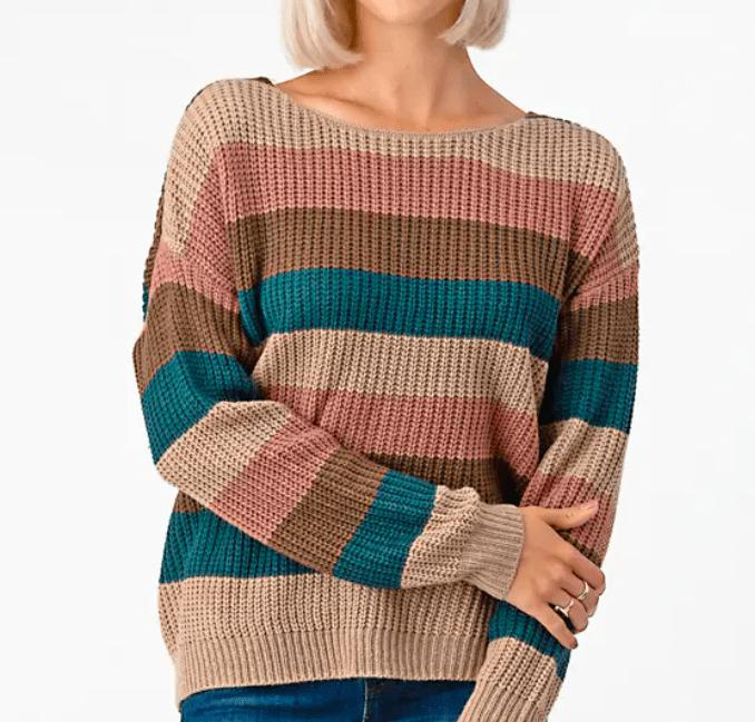 Reversible Striped Knot Sweater - Feather & Quill Boutique