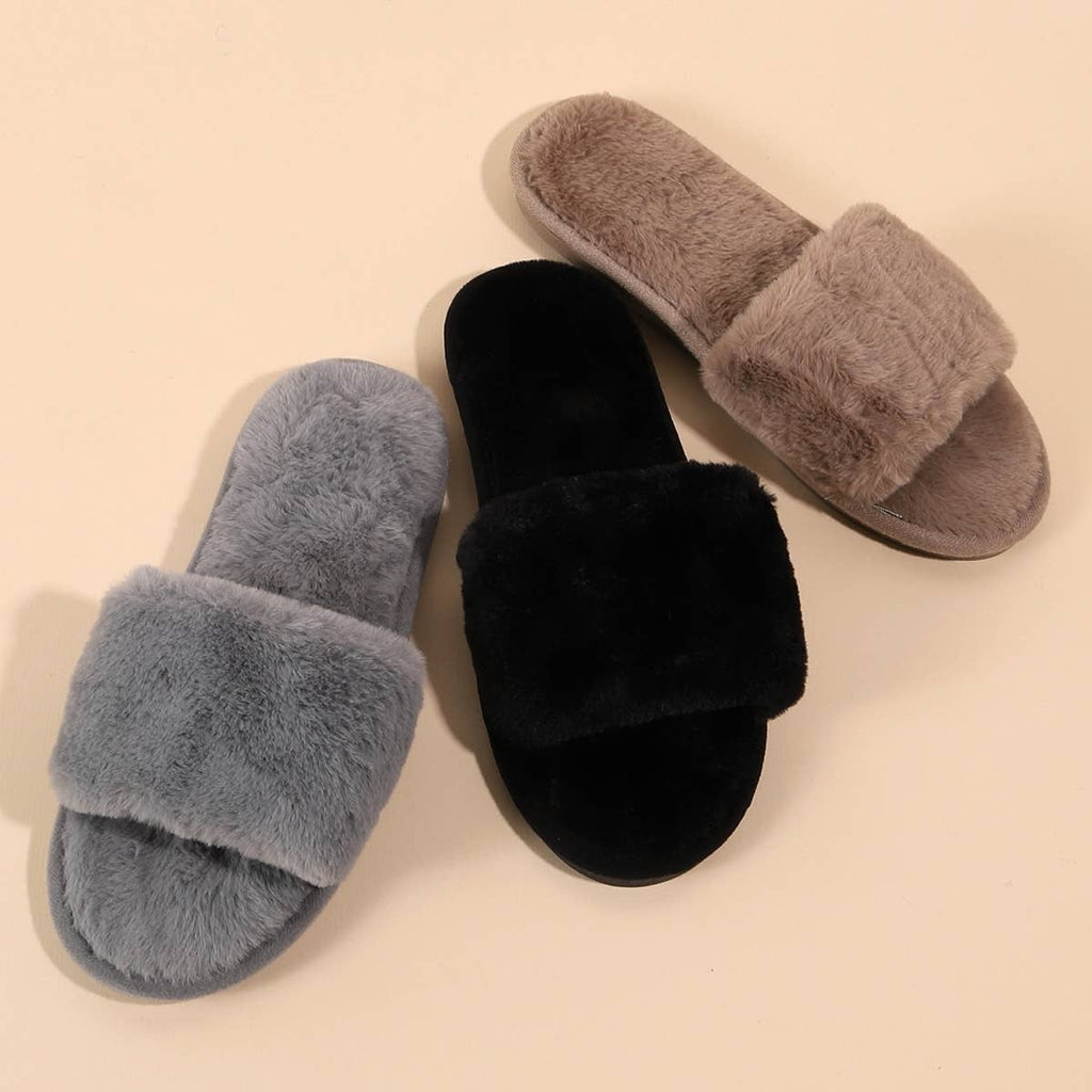 Preorder Solid Color Furry Slippers - Feather & Quill Boutique