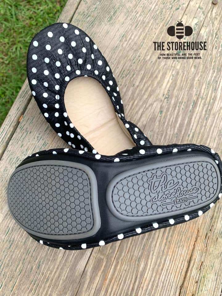 Storehouse Flats - Black and White polkadots IN STOCK-Feather & Quill Boutique