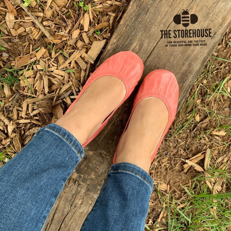 Storehouse Flats - Coral Oil tanned-Feather & Quill Boutique