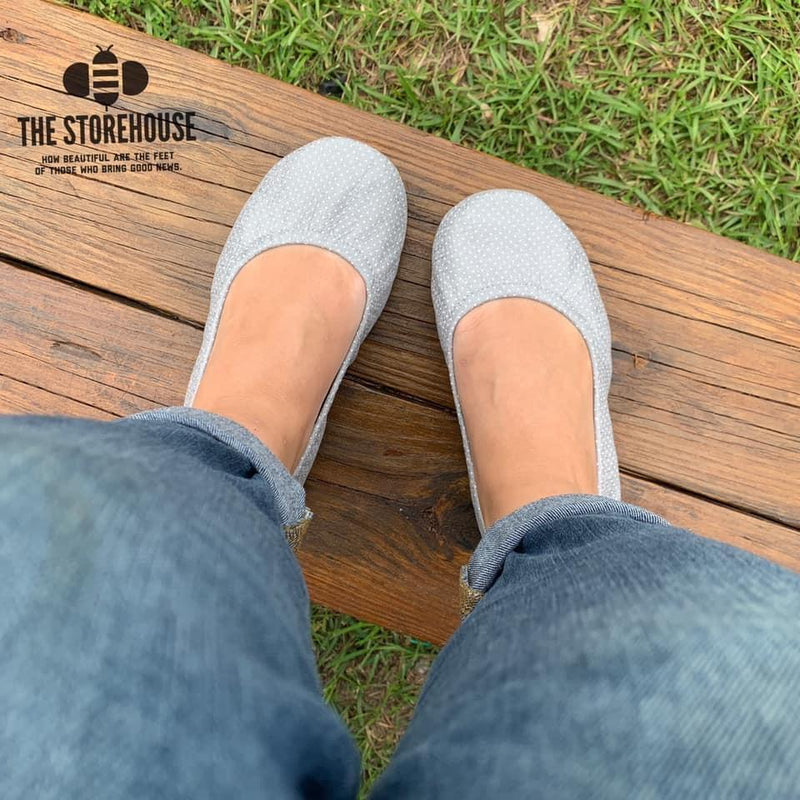 Storehouse Flats - Gray dots IN STOCK-Feather & Quill Boutique