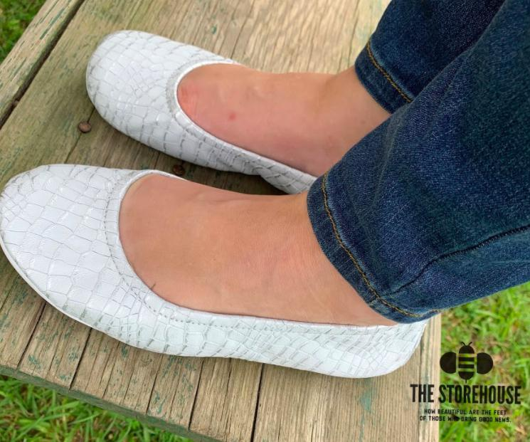 Storehouse Flats - White and Silver Croc IN STOCK-Feather & Quill Boutique