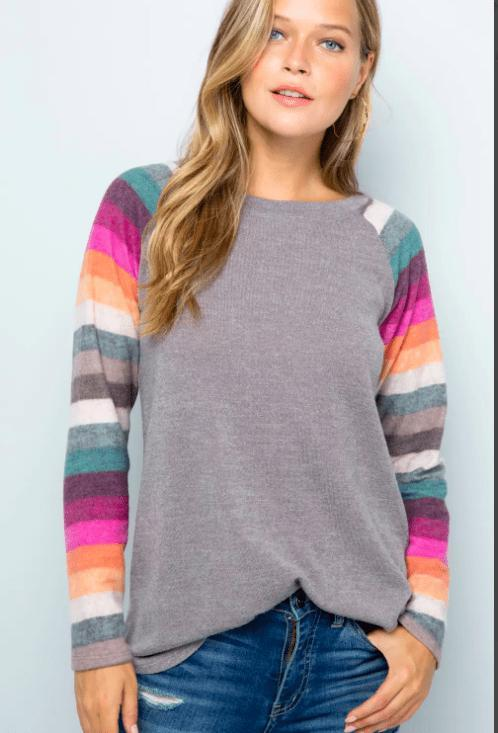 Striped Sleeve Sweater Top - Feather & Quill Boutique
