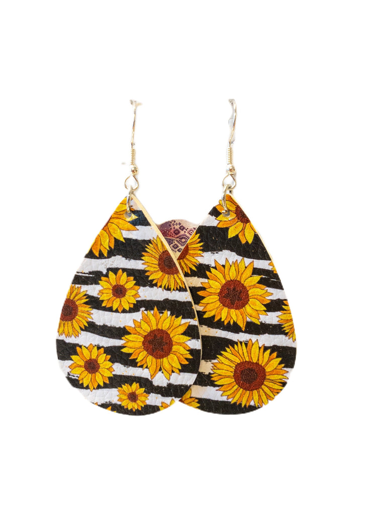 Sunflower Leather earrings-Feather & Quill Boutique