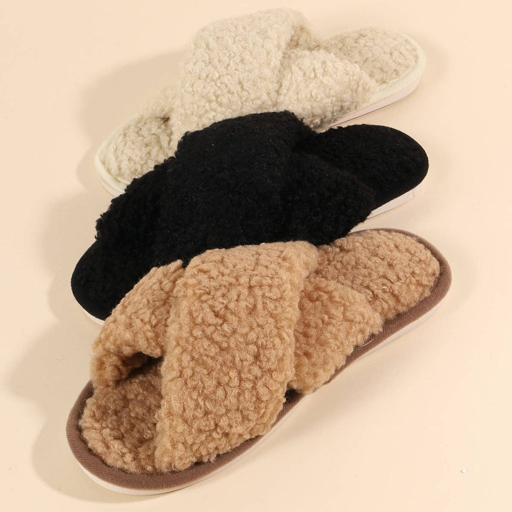 Preorder Teddy Sherpa Fur Slippers - Feather & Quill Boutique
