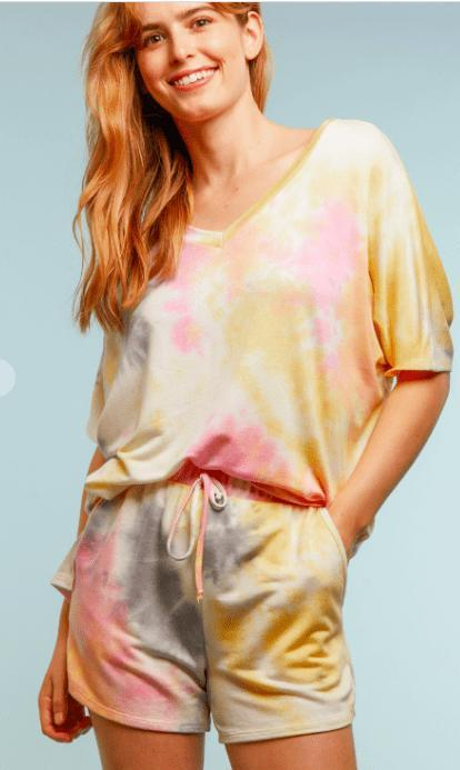 Tie Dye Lounge Wear Shorts Rainbow - Feather & Quill Boutique