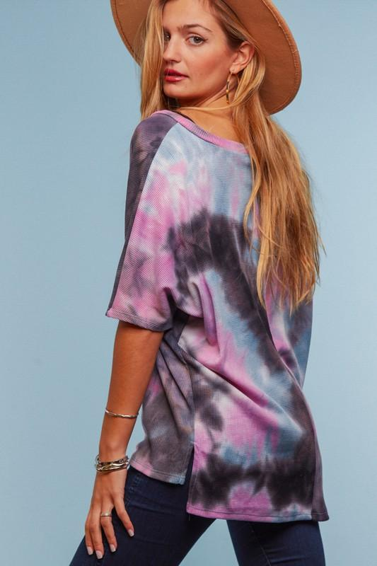 Tie Dye V-neck Dolman top - Feather & Quill Boutique