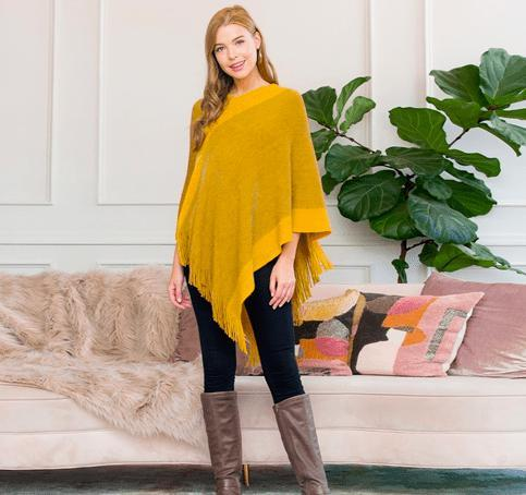Two Tone Lightweight Poncho - Feather & Quill Boutique