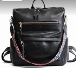 Vintage leather backpack with guitar strap - Feather & Quill Boutique