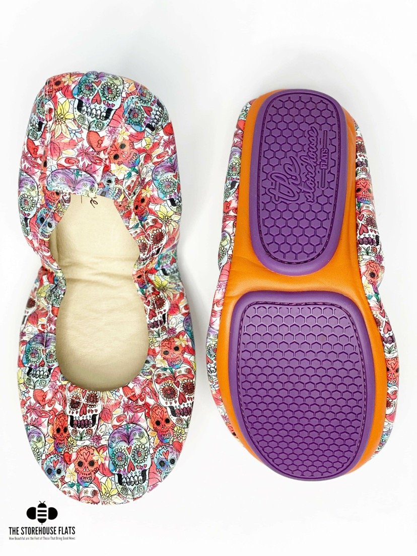 Watercolor Sugar Skulls Storehouse Flats -IN STOCK - Feather & Quill Boutique