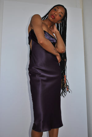 Bandana Slip Dress Purple Velvet