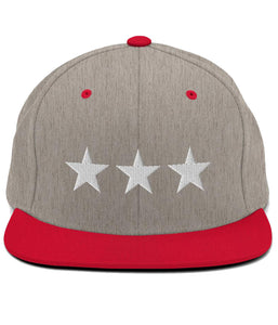 3 Stars - Snapback Hat (Grey & Red / White)