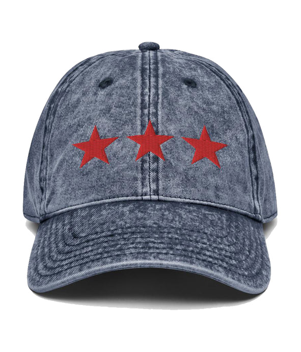 3 Stars - Vintage Cotton Twill Cap (Navy / Red)