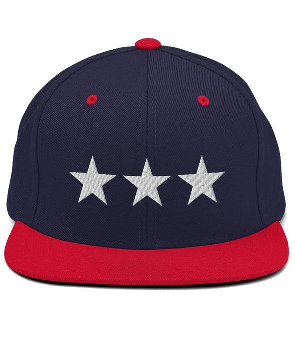 3 Stars - Snapback Hat (Navy & Red / White)