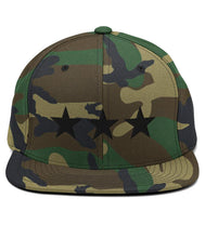 Load image into Gallery viewer, 3 Stars - Snapback Hat (Camo / Black)
