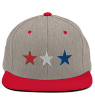 Load image into Gallery viewer, 3 Stars - Snapback Hat (Grey & Red / RWB)