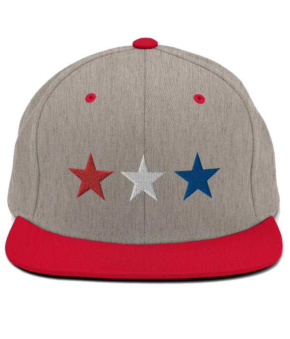 3 Stars - Snapback Hat (Grey & Red / RWB)