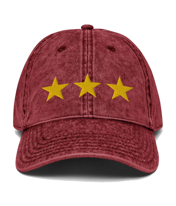 3 Stars - Vintage Cotton Twill Cap (Maroon / Gold)