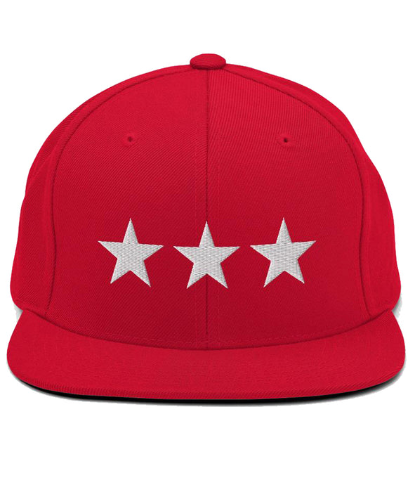 3 Stars - Snapback Hat (Red / White)