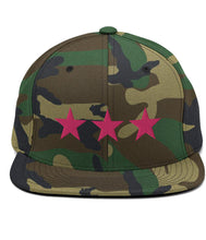Load image into Gallery viewer, 3 Stars - Snapback Hat (Camo / Pink)