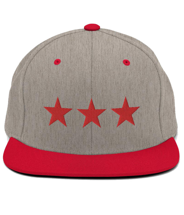 3 Stars - Snapback Hat (Grey & Red / Red)