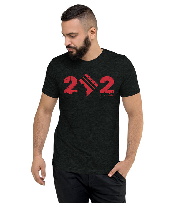 202 - City Outline / City Flag (Charcoal / Red)