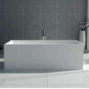 SW-122S Rectangular Freestanding Bathtub in White Finish Shown Installed