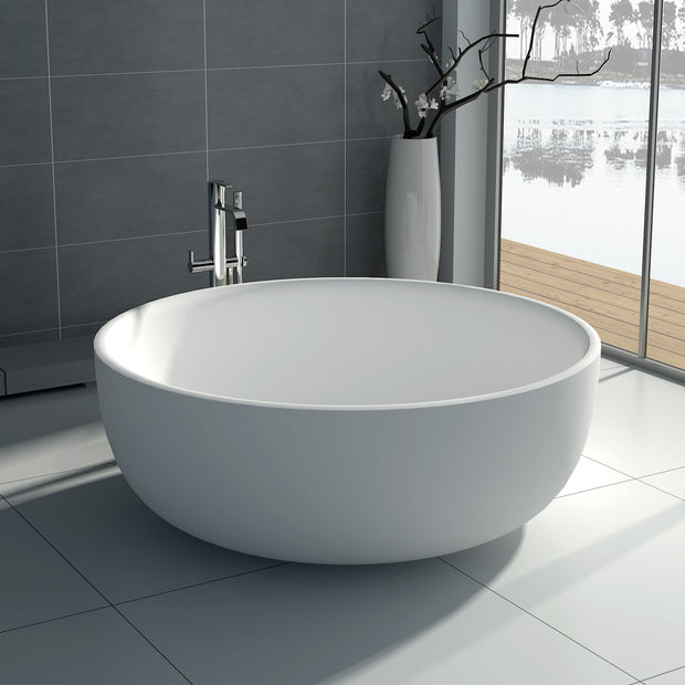 SW-141S Round Freestanding Bathtub Shown Installed with Tub Filler