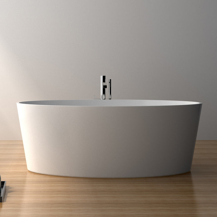 SW-108 Oval Freestanding Bathtub Shown Installed with Tub Filler