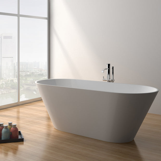SW-107L Oval Freestanding Bathtub Shown Installed with Tub Filler