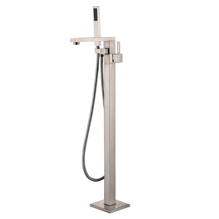 BF-102BN Freestanding Bathtub Filler Faucet with Shower Sprayer Shown in Brushed Nickel Finish