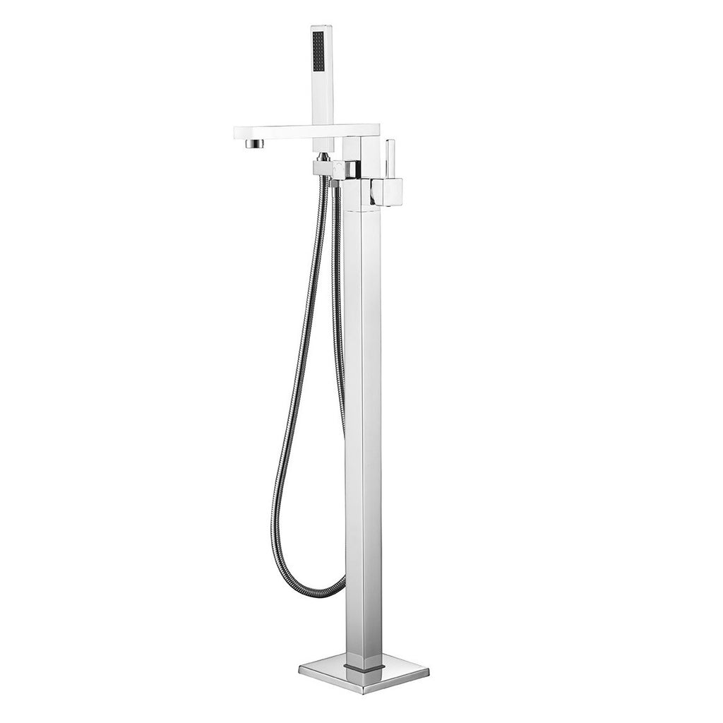 BF-102CH Freestanding Bathtub Filler Faucet with Shower Sprayer Shown in Chrome Finish