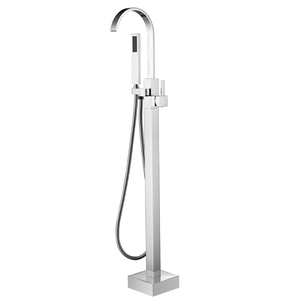 BF-104CH Freestanding Bathtub Filler Faucet with Shower Sprayer Shown in Chrome Finish
