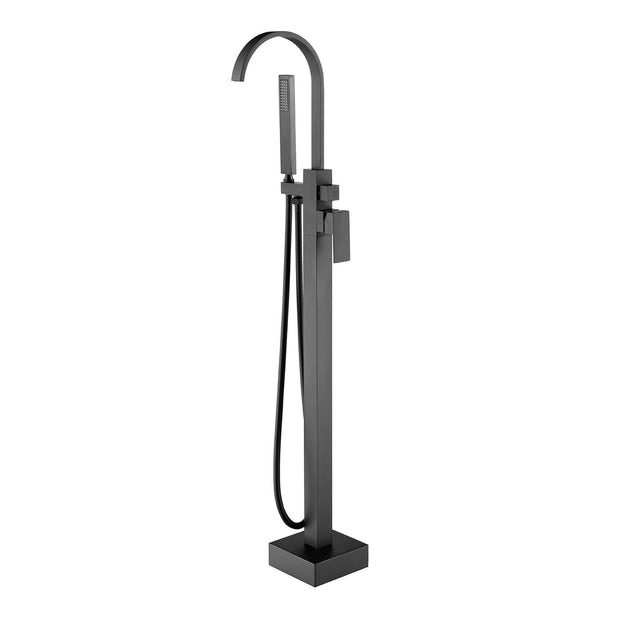 BF-107BK Freestanding Bathtub Filler Faucet with Shower Spray shown in Matte Black Finish
